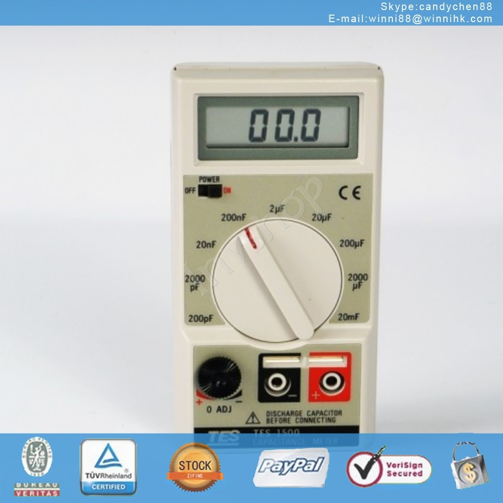new TES1500 Capacitance Tester Meter up to 20mF 20000uF
