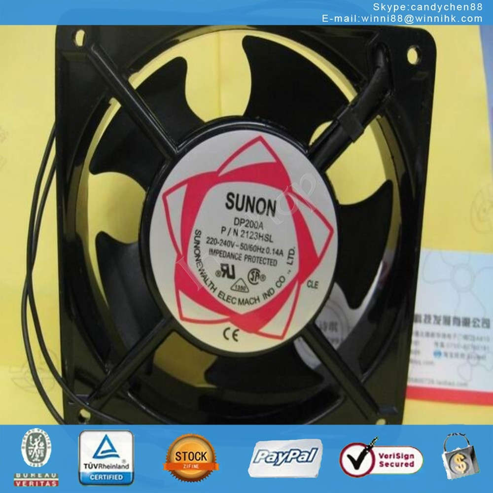 DP200A P/N 2123HSL SUNO Fan 120*120*38mm 220V 0.14A 2pin
